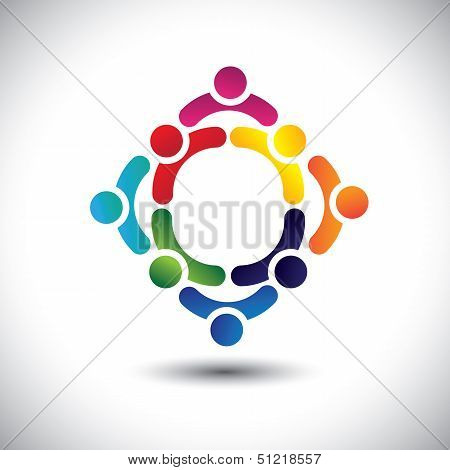 Colorful People & Children Icons In Multiple Circles- Concept Vector