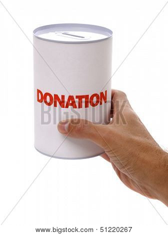 Collecting for charity holding a donation box