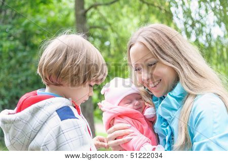 Young Mother With Her Kids In The Park.