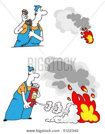 The Person With The Fire Extinguisher Extinguishes Fire