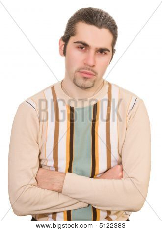 Disappointed Man In Sweater Isolated