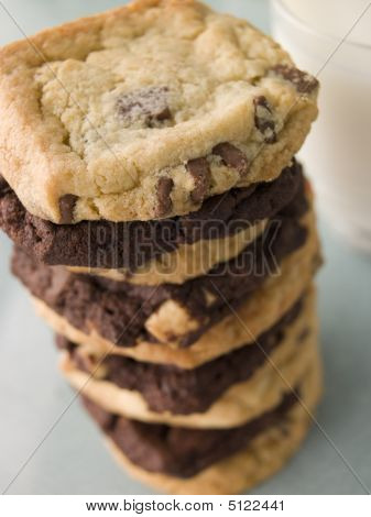 Stack Of Milk And Dark Chocolate Chip Cookies