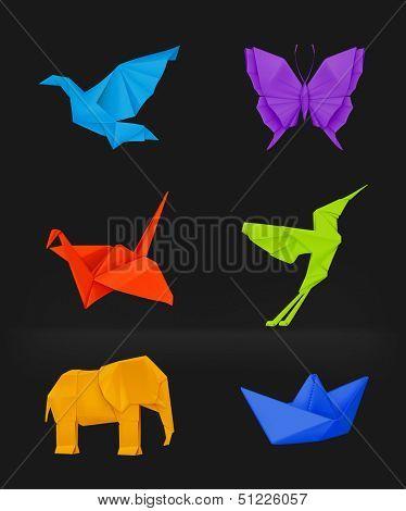 Origami vector set on black, multicolored