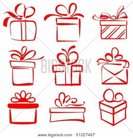 gift boxes icon set sketch vector illustration