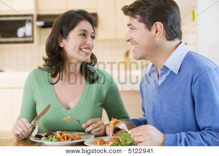 Couple Enjoying Meal, Mealtime Together