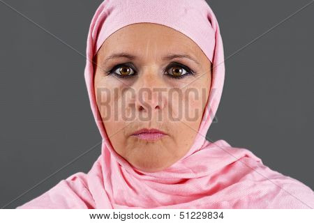 Middle Aged Muslim In Pink Scarf