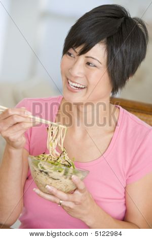 Women Eating Meal, Mealtime With Chopsticks