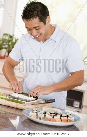Man Preparing Sushi
