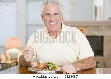 Man Enjoying Healthy Meal, Mealtime