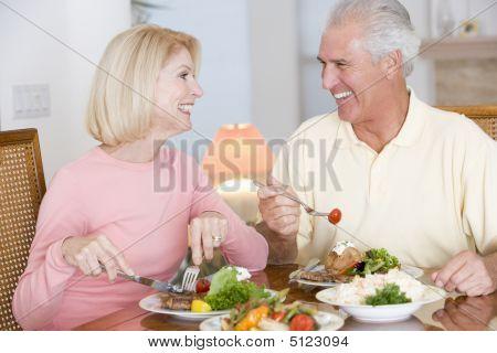 Elderly Couple Enjoying Healthy Meal, Mealtime Together