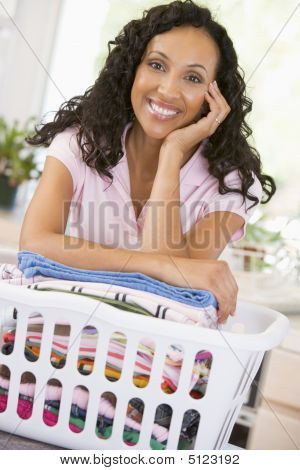 Basket Woman Chores Cleaning Domestic Smiling 40s Forties Middle Aged