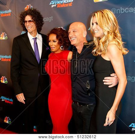 "NEW YORK-SEP 17: (L-R) Judges Howard Stern, Mel B., Howie Mandel and Heidi Klum attend pre-show red carpet for ""America's Got Talent"" at Radio City Music Hall on September 17, 2013 in New York City."