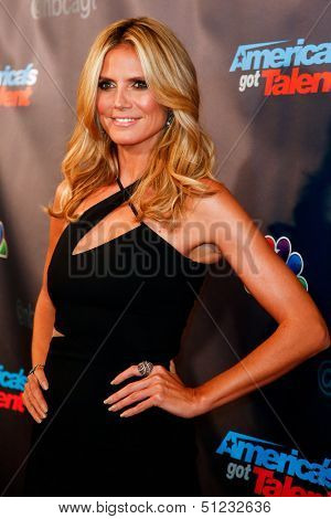 "NEW YORK-SEP 17: Judge and supermodel Heidi Klum attends the pre-show red carpet for NBC's ""America's Got Talent"" Season 8 at Radio City Music Hall on September 17, 2013 in New York City."