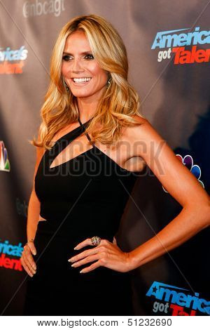 """NEW YORK-SEP 17: Judge and supermodel Heidi Klum attends the pre-show red carpet for NBC's """"America's Got Talent"""" Season 8 at Radio City Music Hall on September 17, 2013 in New York City."""