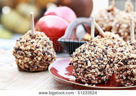 Chocolate Chip And Nut Covered Carmel Apples