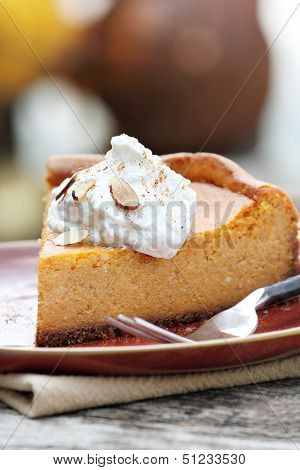 Pumpkin Cheesecake Pie With Whipped Cream