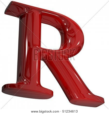 3d shiny red letter collection - R