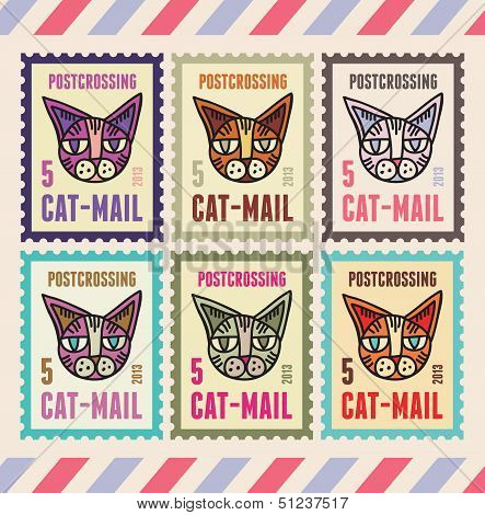 Cats Stamps for Postcrossing