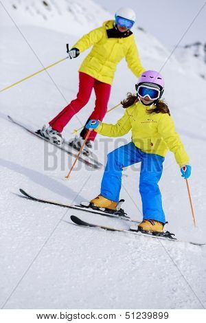 Ski, skiers on ski run - child skiing downhill, ski lesson