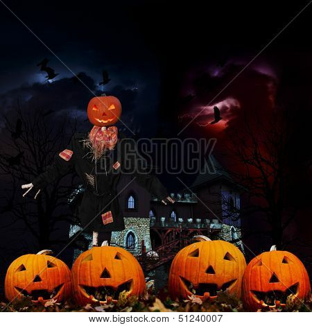 Halloween, Scarecrow and pumpkins - Hallowe'en scenery