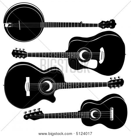 Acoustic Guitars Silhouettes