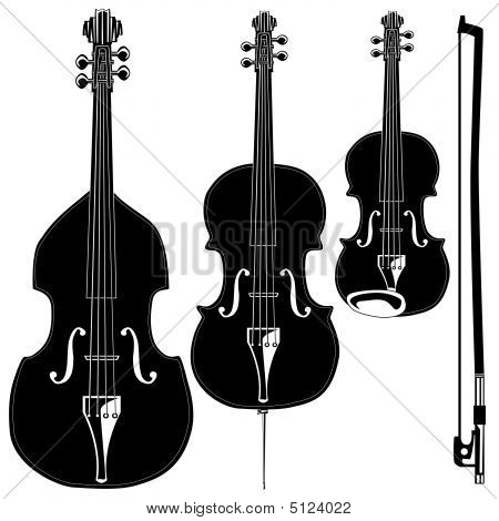 Stringed Instrument Silhouettes
