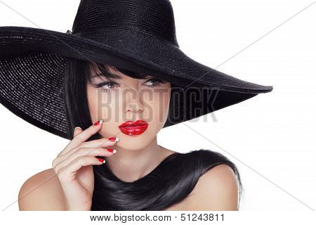 Beauty Vogue Style Fashion Model Girl In Black Hat. Manicured Nails And Red Lipstick. Isolated On A