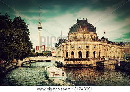 The Bode Museum on the Museum Island in Berlin, Germany. Retro, vintage style