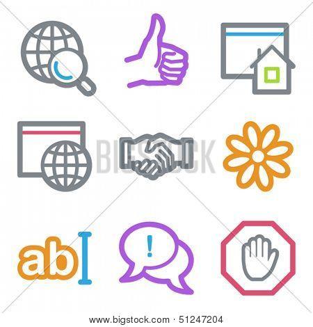 Internet web icons set 1, color line contour series