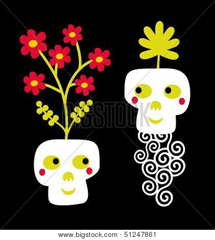 Funny skull couple with flowers.