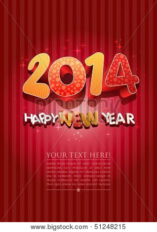 Happy new year 2014! New year design template. All elements are layered separately in vector file. Easy editable.