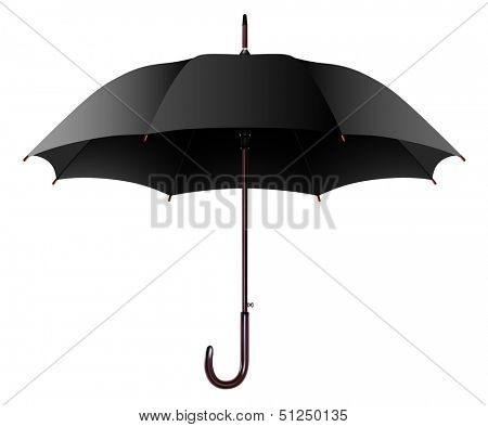 Illustration Open Black Umbrella Isolated on a White Background. Vector.