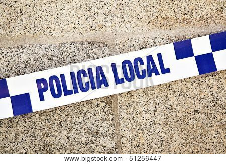 Spanish police line close-up