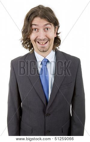 happy young businessman with silly face, isolated on white