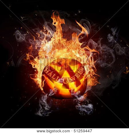 Scary Halloween background with fire flames