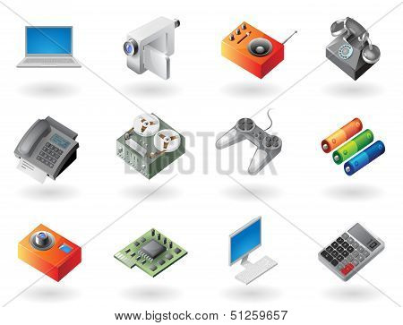 Isometric-style Icons For Electronics