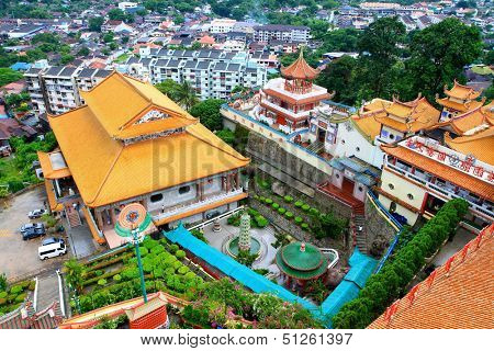 PENANG, MALAYSIA - APRIL 2012 : Bird View of Kek Lok Si Buddhist Temple of Supreme Bliss on April 19, 2013 in Penang, Malaysia