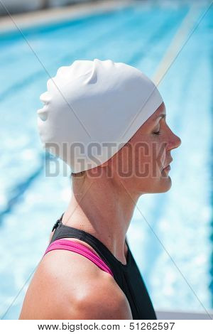 Female Swimmer At Pool