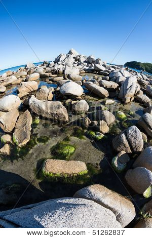 Summer landscape of sea coast. Japan sea. Fish-eye lens.