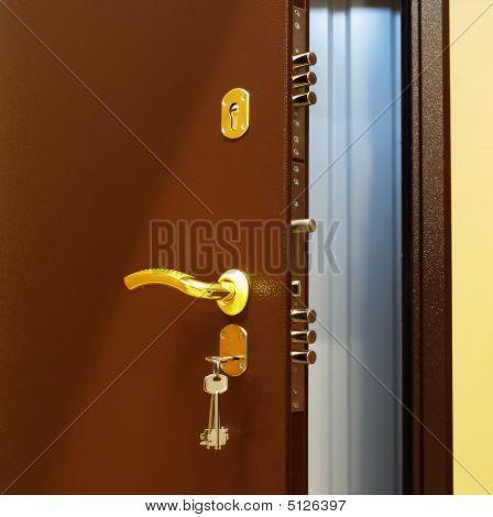 Manijas de la puerta.