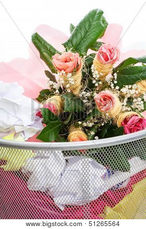 Flowers From A Man In Dust Bin