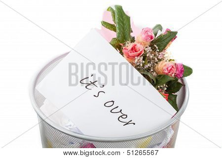Roses And It's Over Note In Dustbin