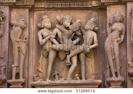 Erotic Temple In Khajuraho, India.
