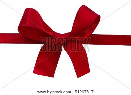 red sateen bow isolated on the white