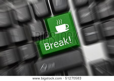 Conceptual Keyboard - Break (green Key). Zoom Effect