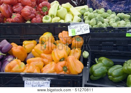 Peppers for sale on a market stall