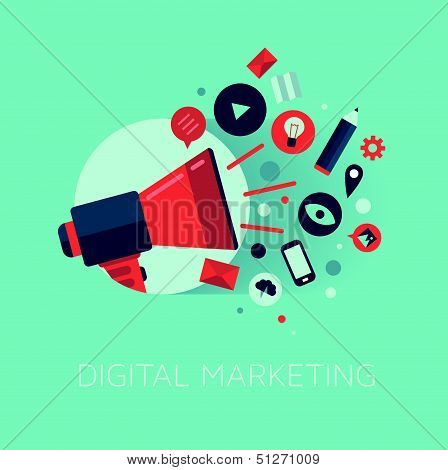 Ilustración del concepto de Marketing digital