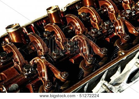 old car engine in oil inside view isolated over white