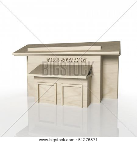 3D render of fire station building with reflection,isolated on white