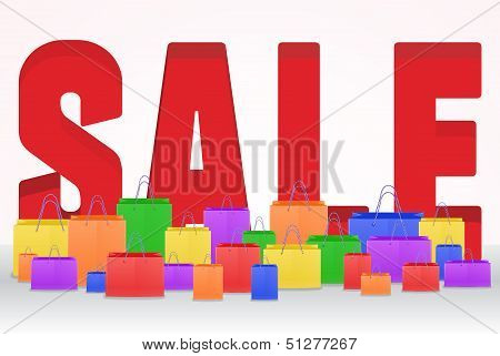3d Sale poster with shopping bags